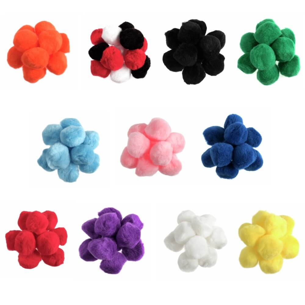 50 x 35mm Pom Poms Embellishments Craft Trimmings Accessories Trimits Pink