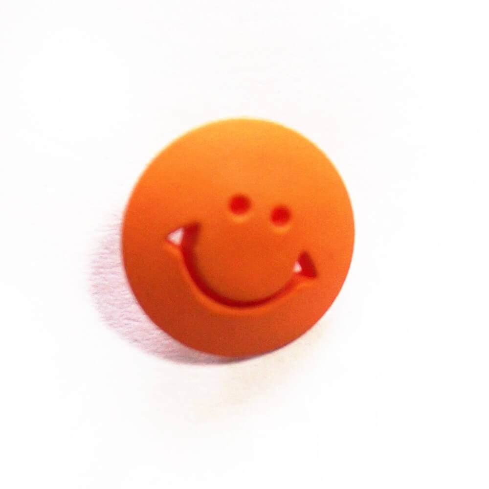 Orange Smiley Face Shank Back Button Fastening 17mm Wide