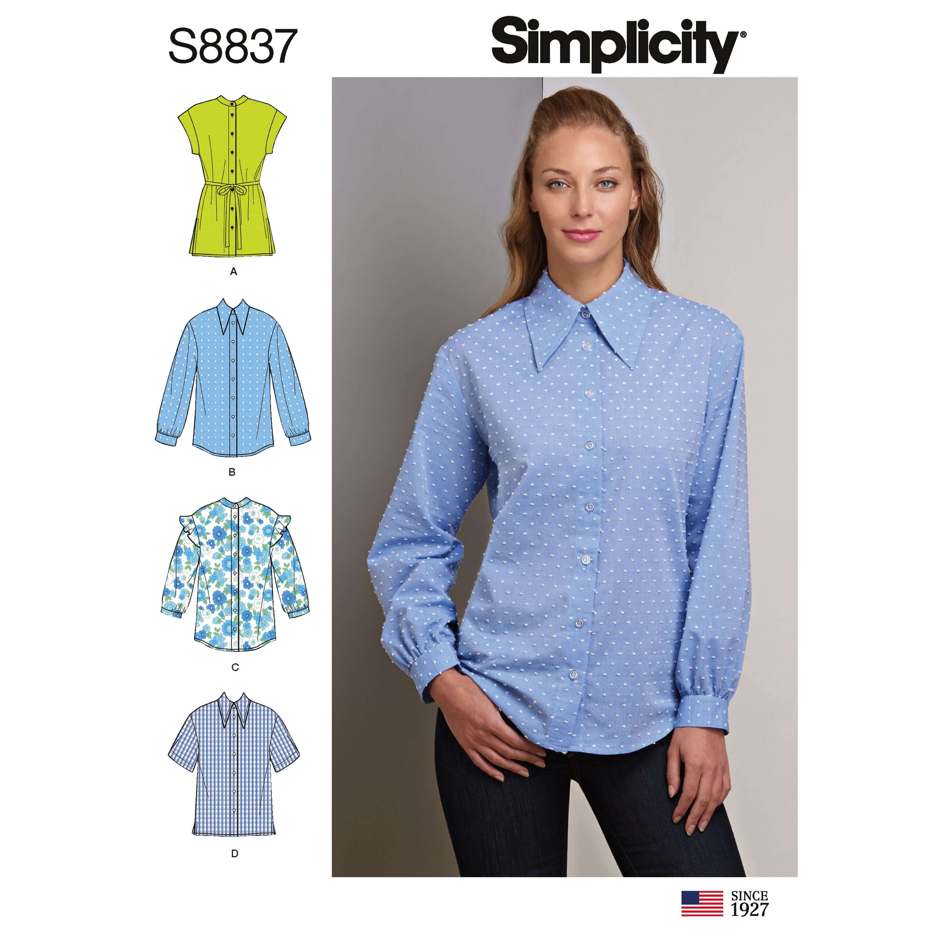 Simplicity Sewing Pattern 8837 Misses'/ Miss Petite Collared Shirt