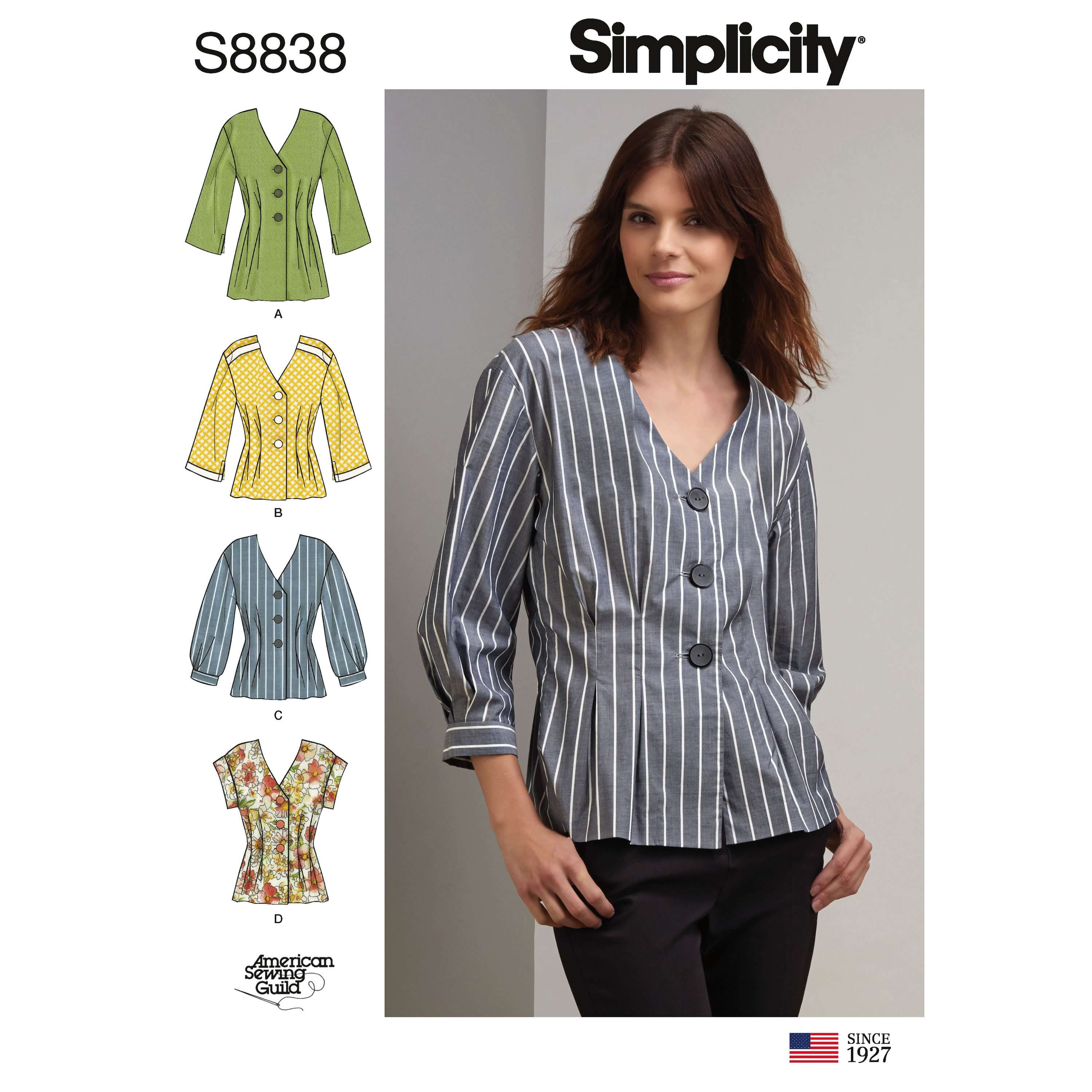 Simplicity Sewing Pattern 8838 Misses'/Miss Petite Shirt