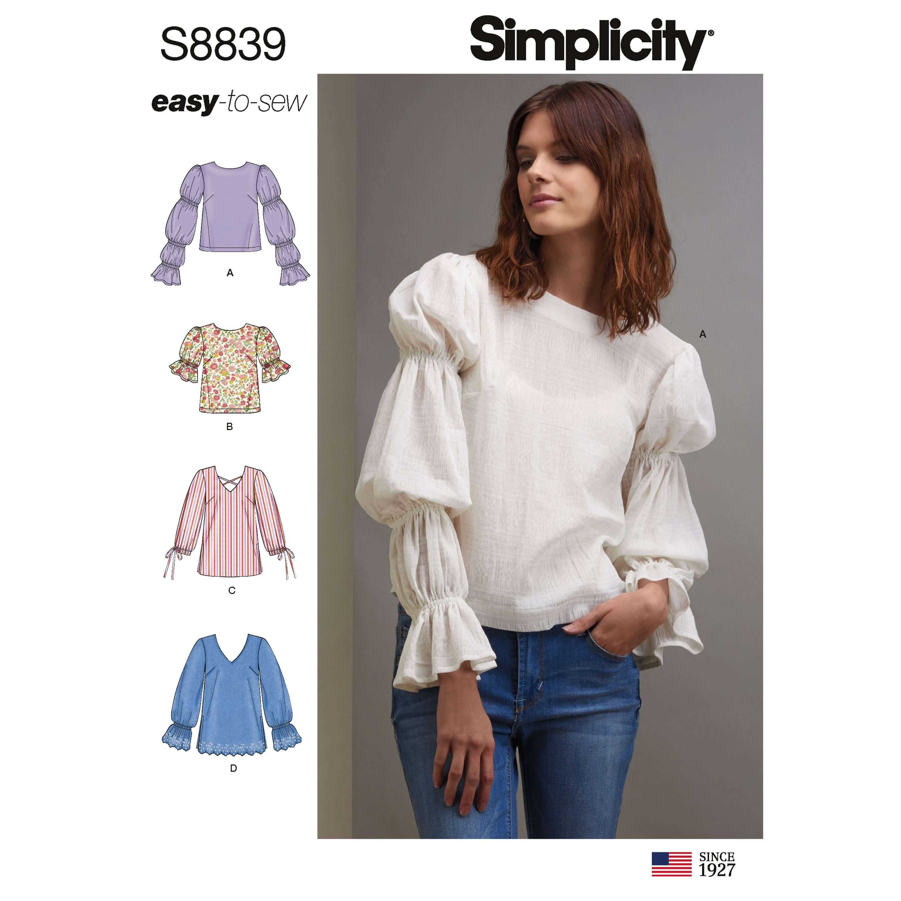 Simplicity Sewing Pattern 8839 Misses' Pullover Tunic or Tops
