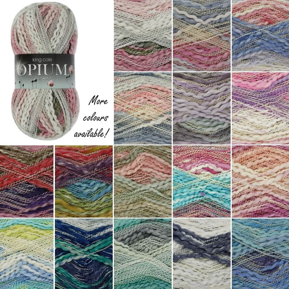King Cole Opium Palette Chunky Knitting Yarn Knit Craft Wool Crochet Blue Strata