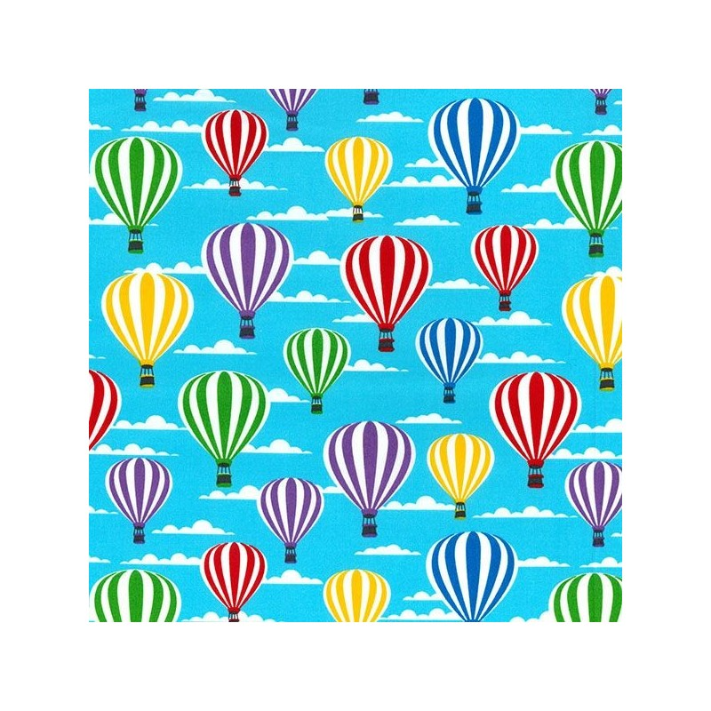 Turquoise 100% Cotton Poplin Fabric Rose & Hubble Hot Air Balloon Sky Clouds