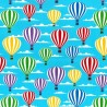 100% Cotton Poplin Fabric Rose & Hubble Hot Air Balloon Sky Clouds