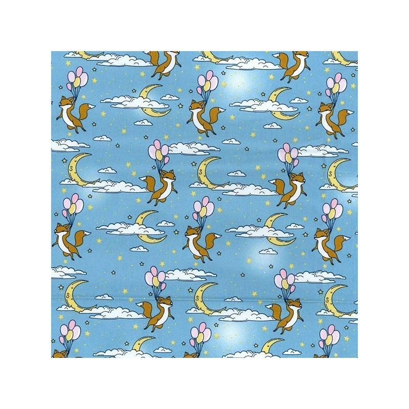 Blue 100% Cotton Poplin Fabric Rose & Hubble Flying Foxes With Balloons In Sky