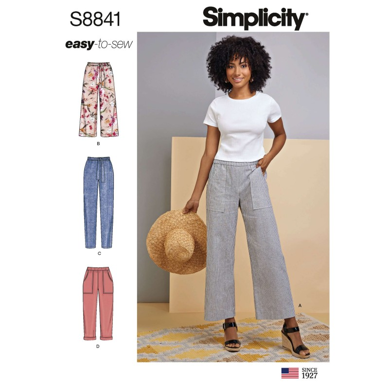 Simplicity Sewing Pattern 8841 Wide or Slim Leg Pull-on Trousers