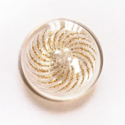 Gold Glitter Sparkle Fancy See Through Flat Back Button Fastening 27mm Wide