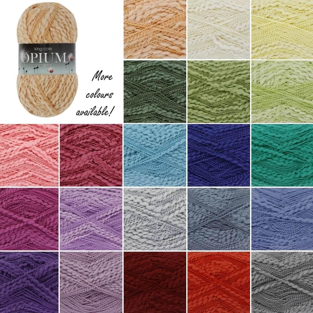 King Cole Opium Chunky Novelty Knitting Yarn Knit Craft Wool Crochet White