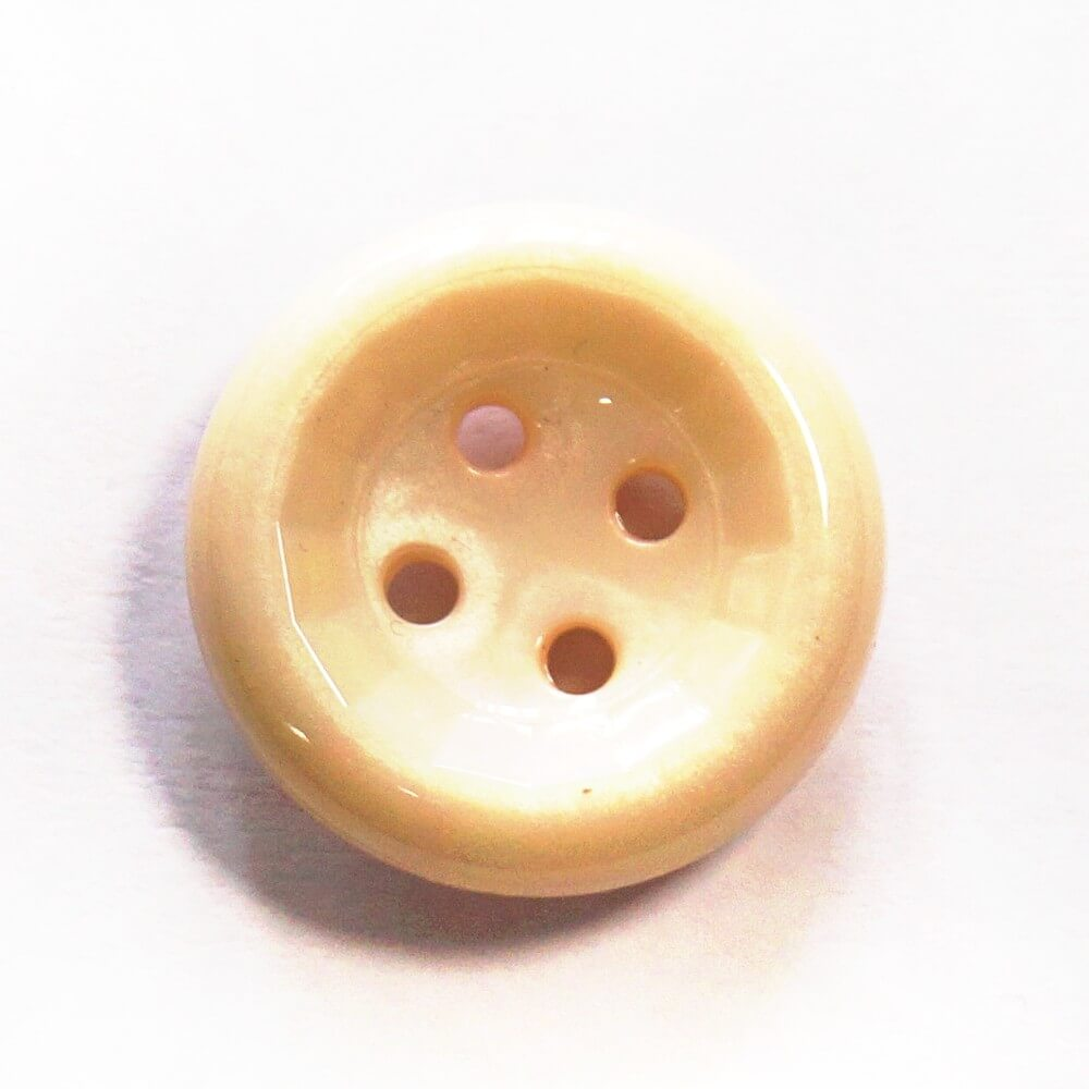 Cream Shiny Flat Back Button Fastening 27mm Wide
