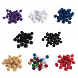 100 x 12mm Metallic Pom Poms Embellishments Craft Trimmings Accessories Trimits