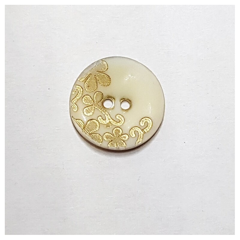 Natural Shell Cream with Gold Engraved Vines Floral Button 21mm