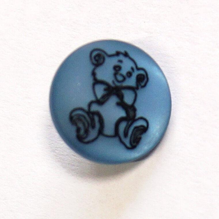 Teddy Bear On Blue Shank Back Button Fastening 13mm Wide