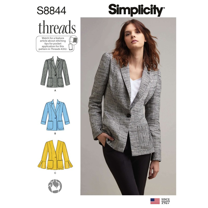 Simplicity Sewing Pattern 8844 Misses'/ Miss Petite Unlined Blazer