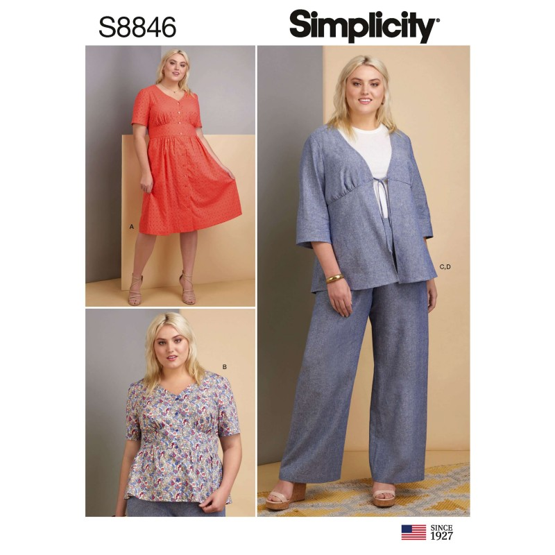 Simplicity Sewing Pattern 1020: Misses and Plus Scrub Pants and Tops 20W-28W Paper White, 20W-22W-24W-26W-28W Size BB