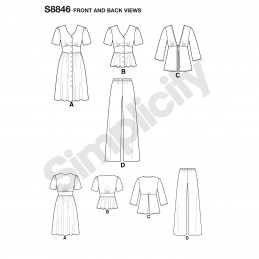 Simplicity Sewing Pattern 8846 Misses/Women's Dress, Top, Trousers and Jacket