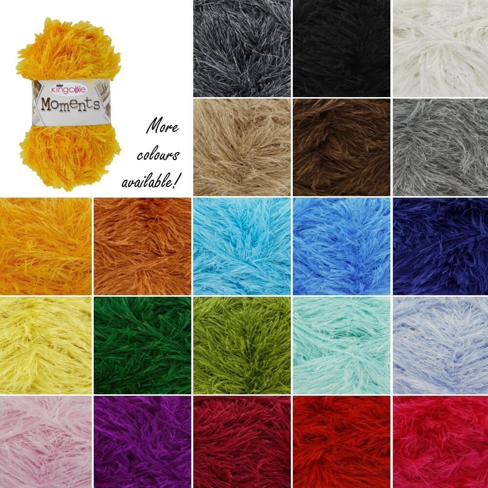 King Cole Moments Eyelash Knitting Yarn Knit Craft Wool Crochet 50g Ball White
