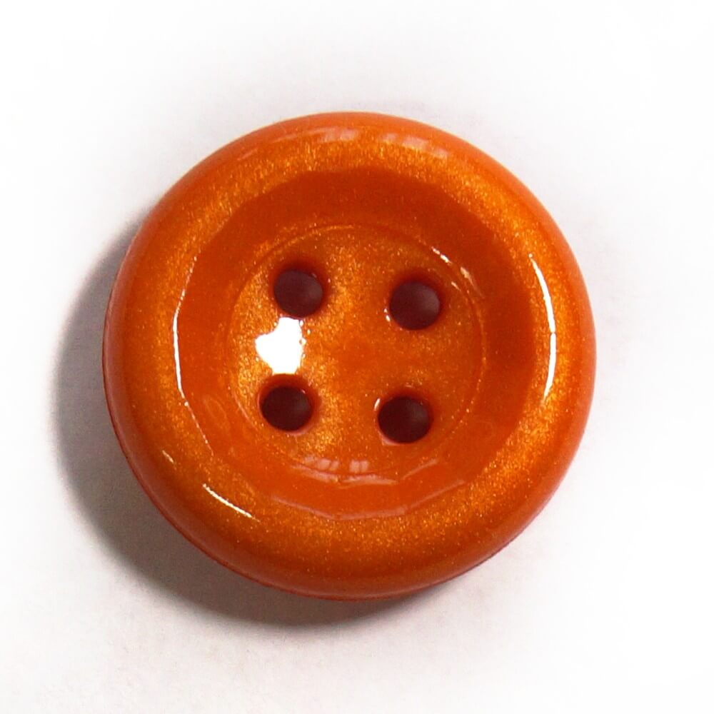 Orange Shiny Dome Back Button Fastening 23mm Wide