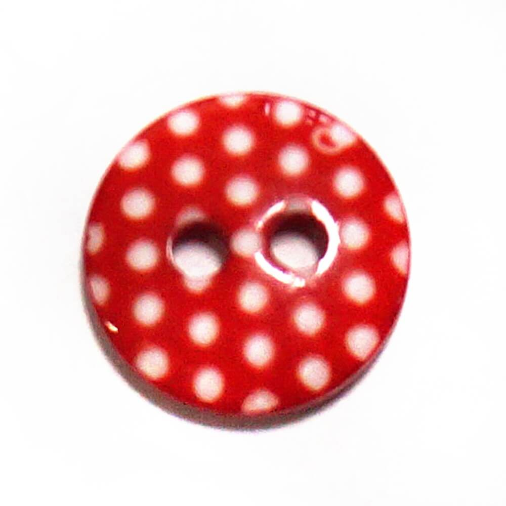 Polka Dot Red On White Flat Back Button Fastening 11mm Wide