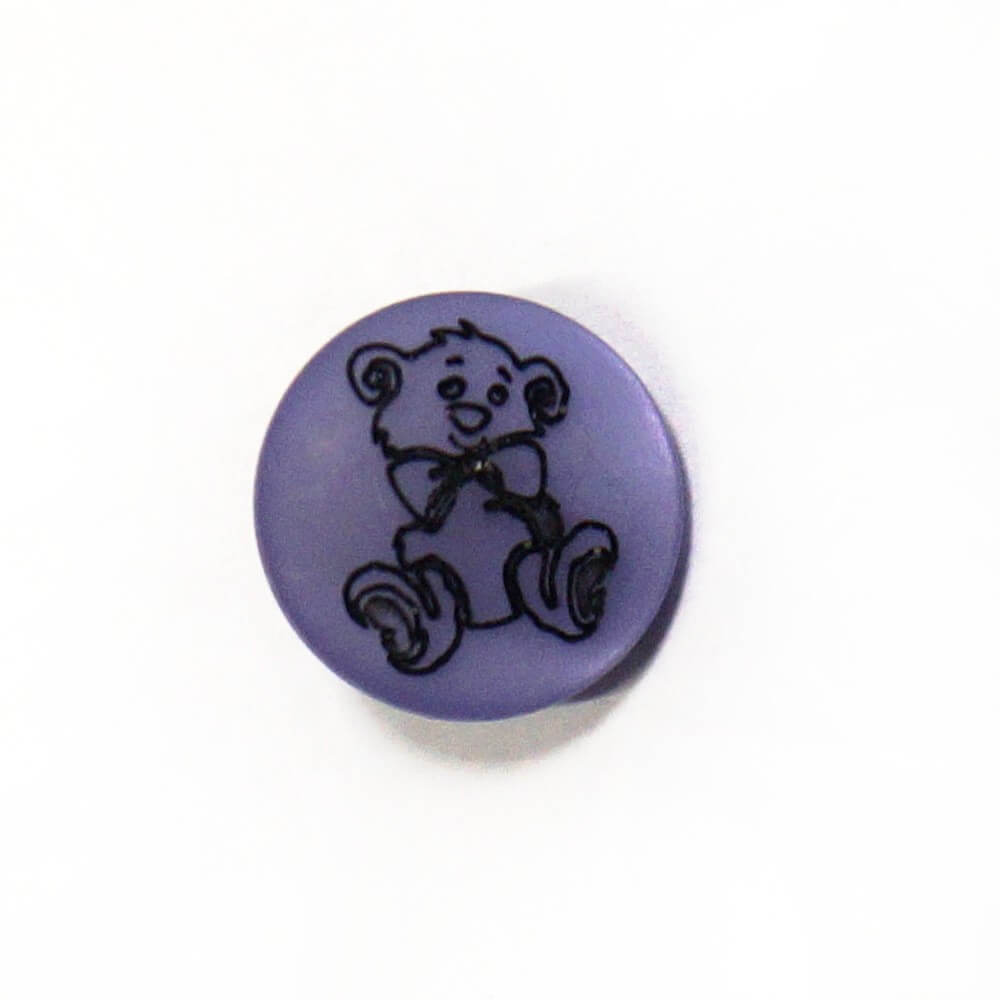 Teddy Bear On Purple Shank Back Button Fastening 13mm Wide