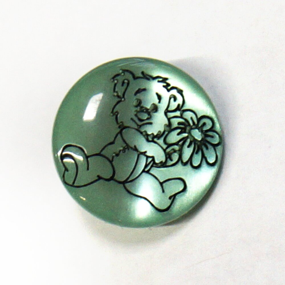 Teddy Bear On Green Shank Back Button Fastening 13mm Wide