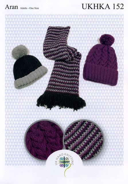 Knitting Pattern James C Brett UKHKA152 Aran Bobble Hat & Scarf
