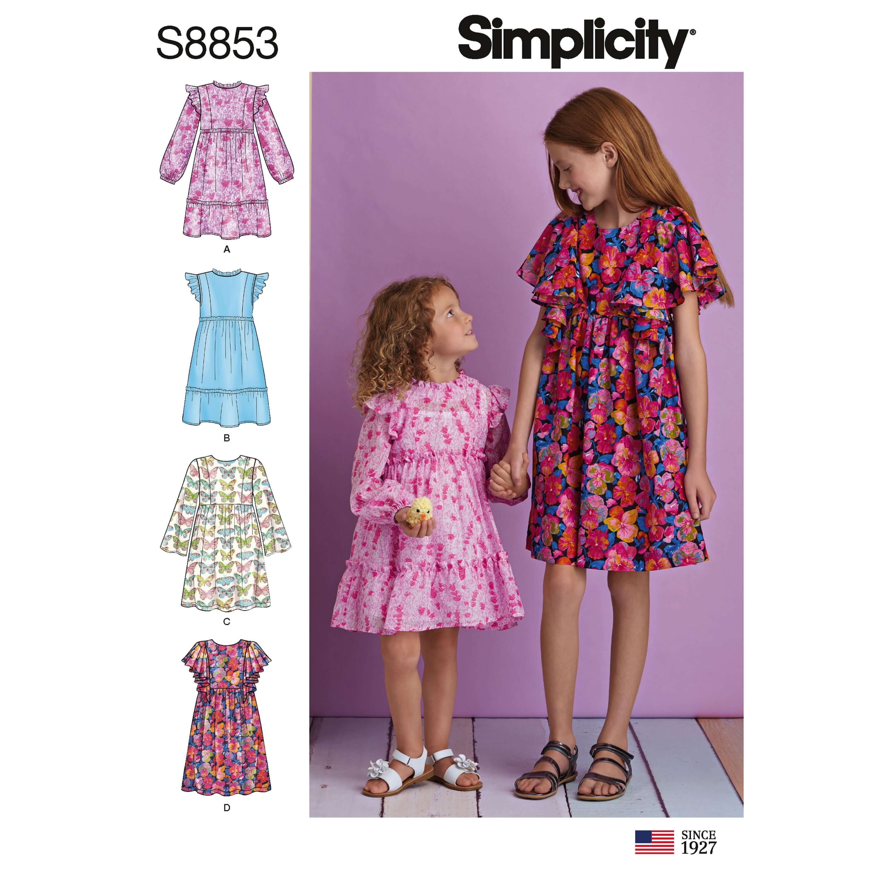Simplicity Sewing Pattern 8853 Child's and Girls' Dress
