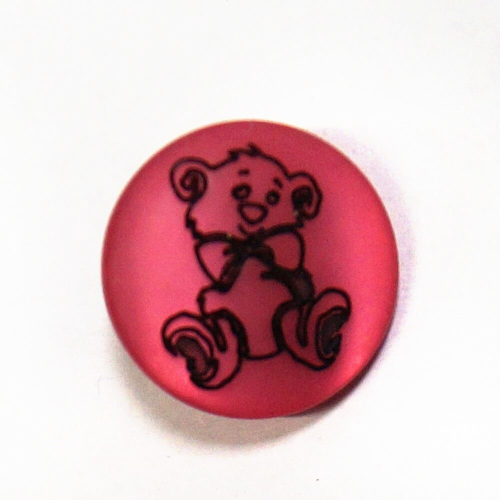 Teddy Bear On Pink Shank Back Button Fastening 13mm Wide