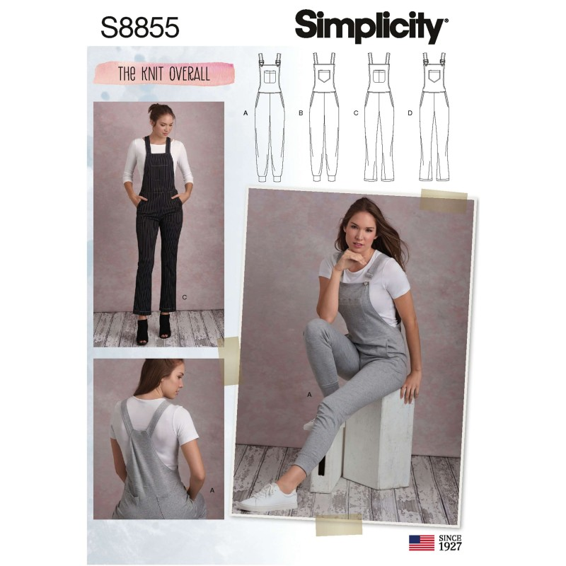 Simplicity Sewing Pattern 8855 Misses' Knit Overalls