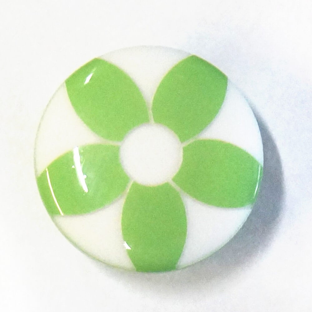 Green Flower Shank Back Button Fastening 15mm Wide