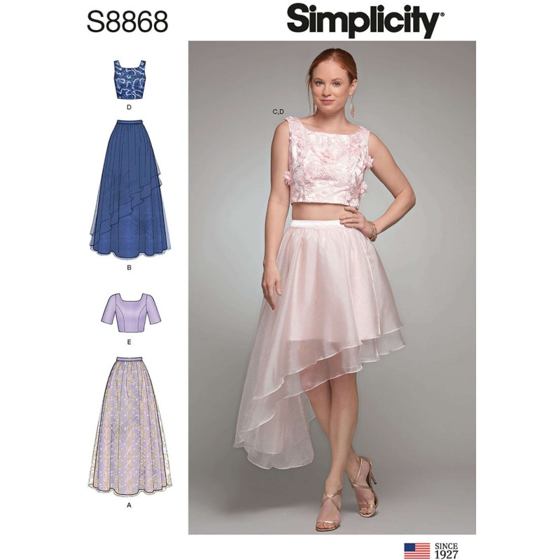 Simplicity Sewing Pattern 8868 Misses Two Piece Dress Top Skirt Special Occasion