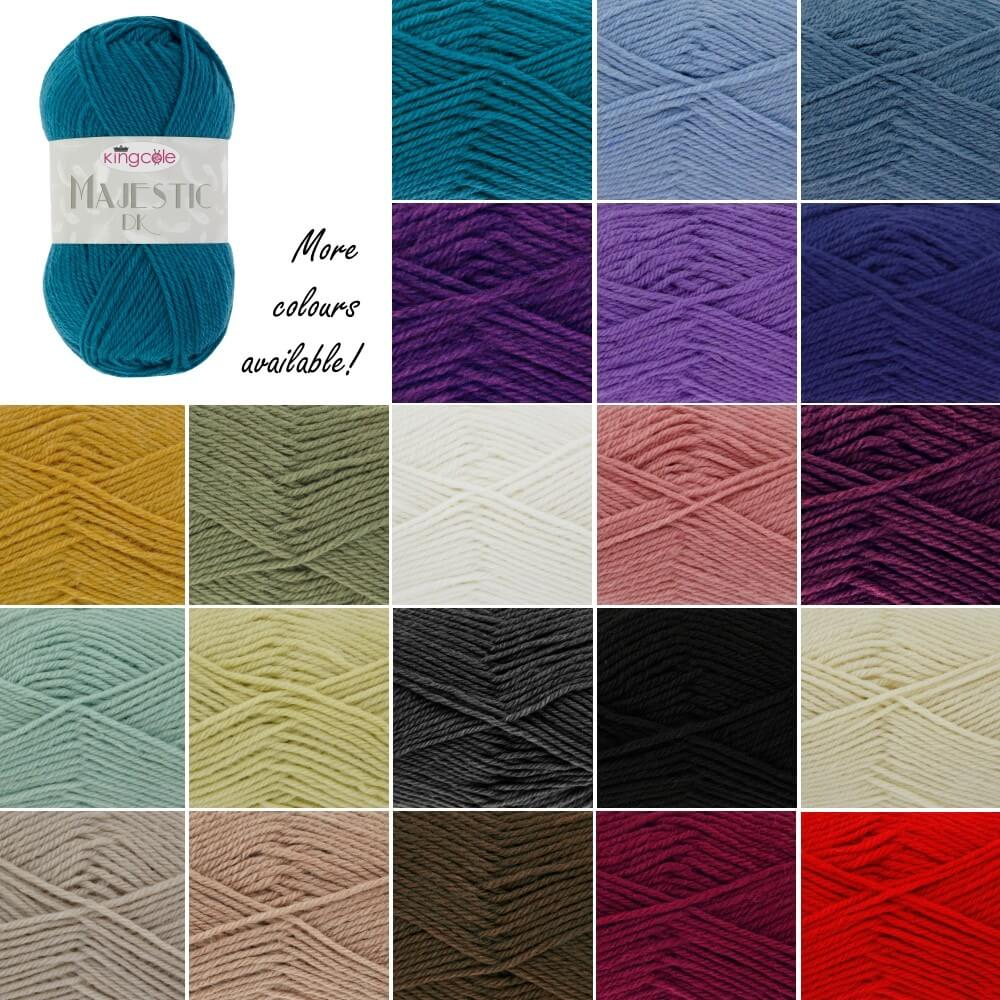 King Cole Majestic DK Double Knitting Yarn Knit Craft Wool Crochet 50g Ball Black