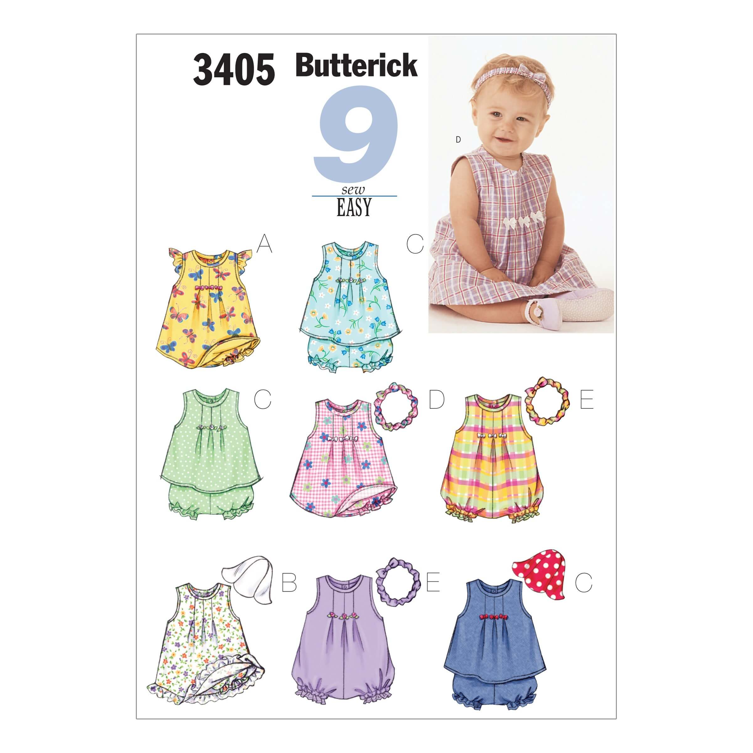 Butterick Sewing Pattern 3405 Babies Romper Top & Shorts Play Wear