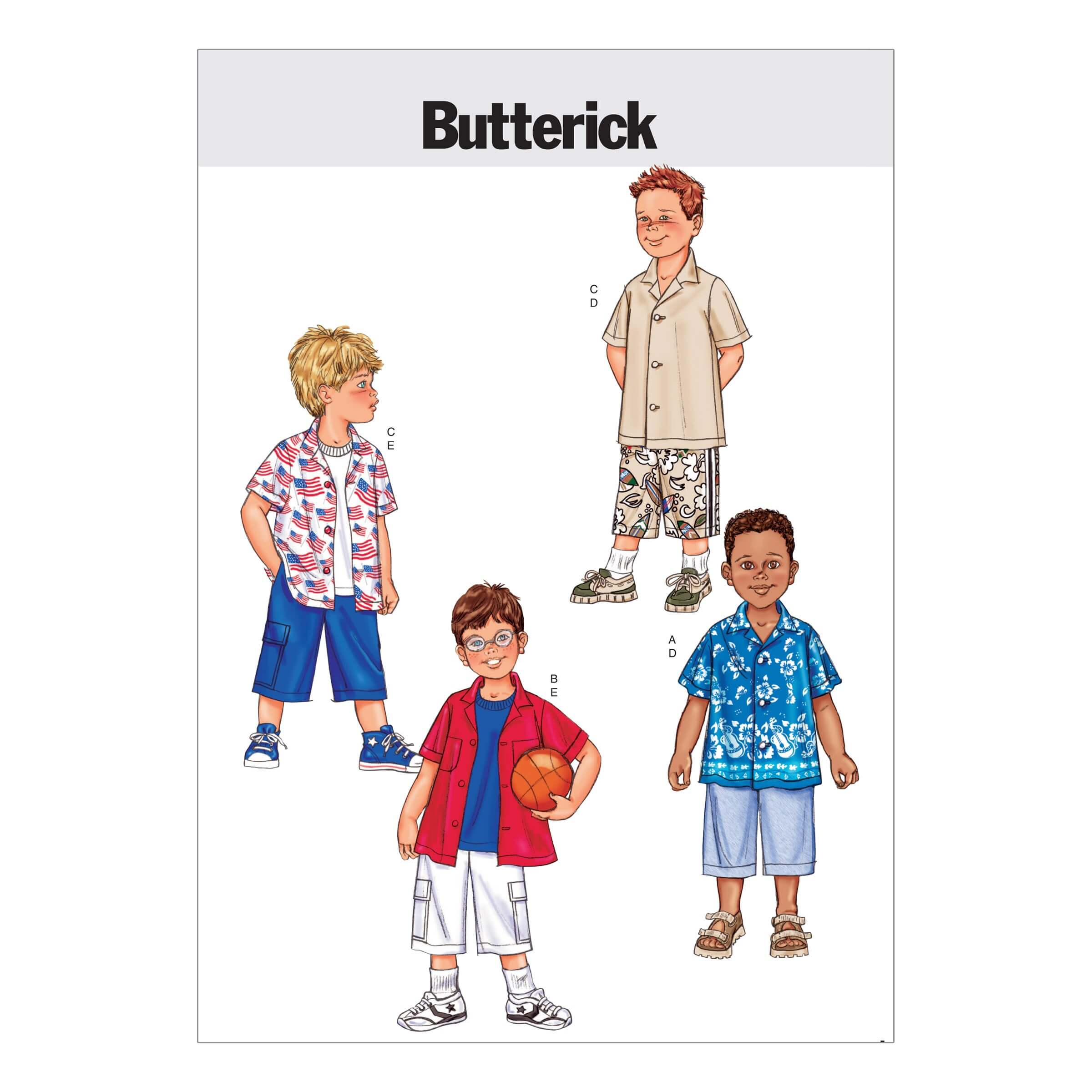 Butterick Sewing Pattern 3475 Childrens Short Sleeve Shirt & Shorts Smart Casual