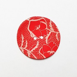 Natural Shell Red with Silver Engraved Vines Floral Button 33mm