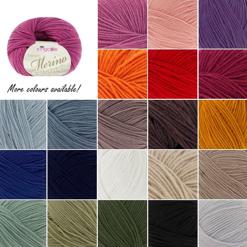 King Cole Luxury Merino DK Double Knitting Yarn Knit Craft Wool Crochet Pebble