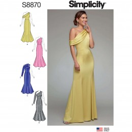 Simplicity Sewing Pattern 8870 Misses Special Occasion One Shoulder Dresses