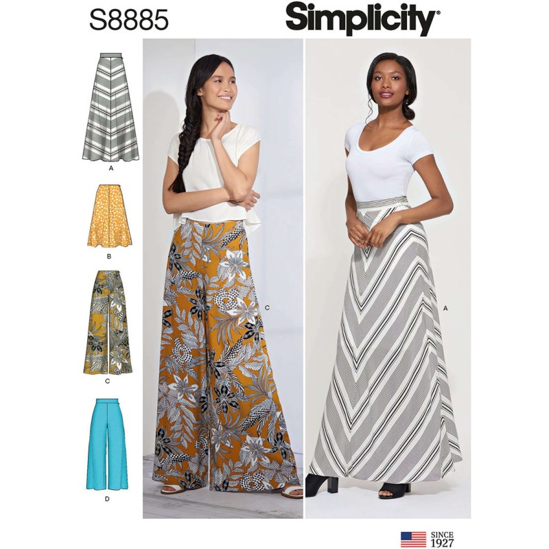 Simplicity Sewing Pattern 8885 Misses Maxi Skirt or Palazzo Trousers Wide Leg