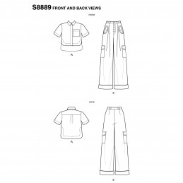 Simplicity Sewing Pattern 8889 Misses Button Shirt and Wide Leg Trousers