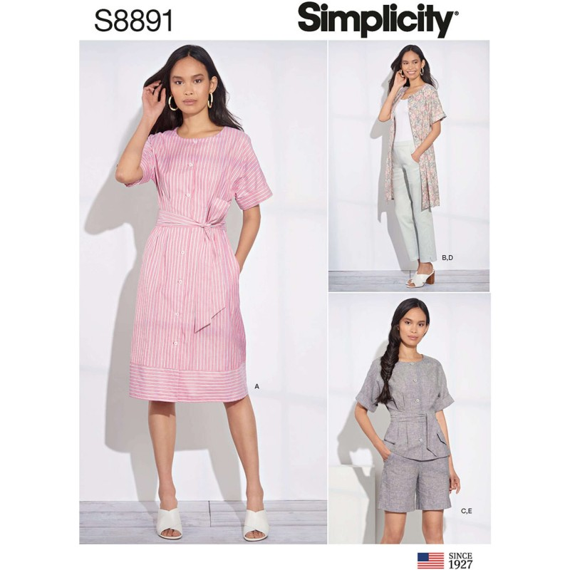 Simplicity Sewing Pattern 8891 Misses Shirt Blouse Dress and Cropped Trousers