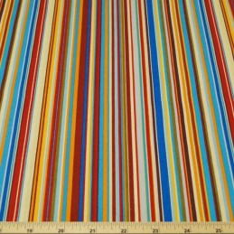 Col.5 Orange & Blue 100% Cotton Poplin Fabric Rose & Hubble Rainbow Stripes
