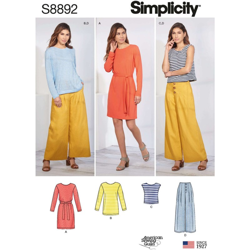 Simplicity Sewing Pattern 8892 Misses Stretch Knit Separates Wide Leg Trousers