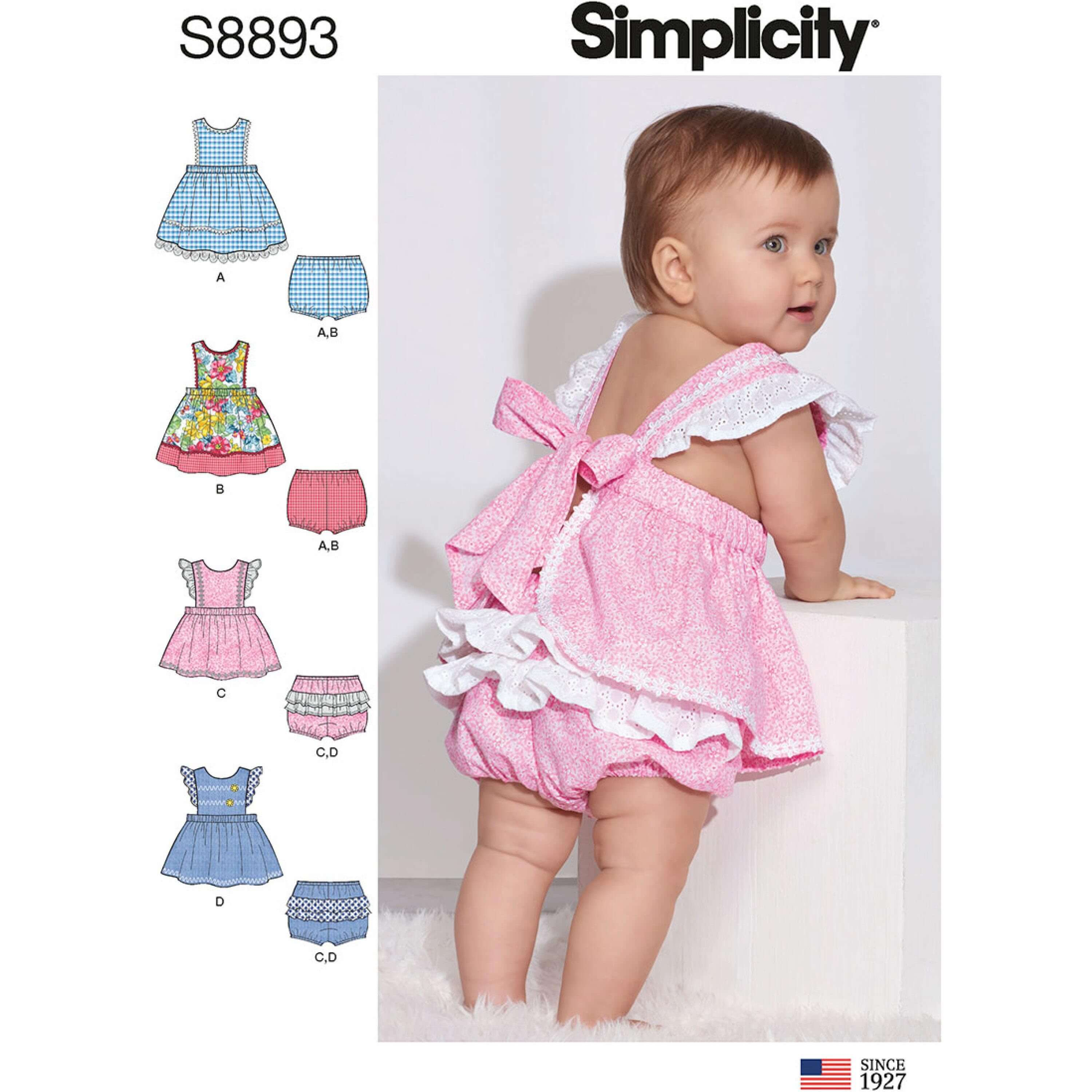 Simplicity Sewing Pattern 8893 Babies Baby Pinafore Dress and Bloomers