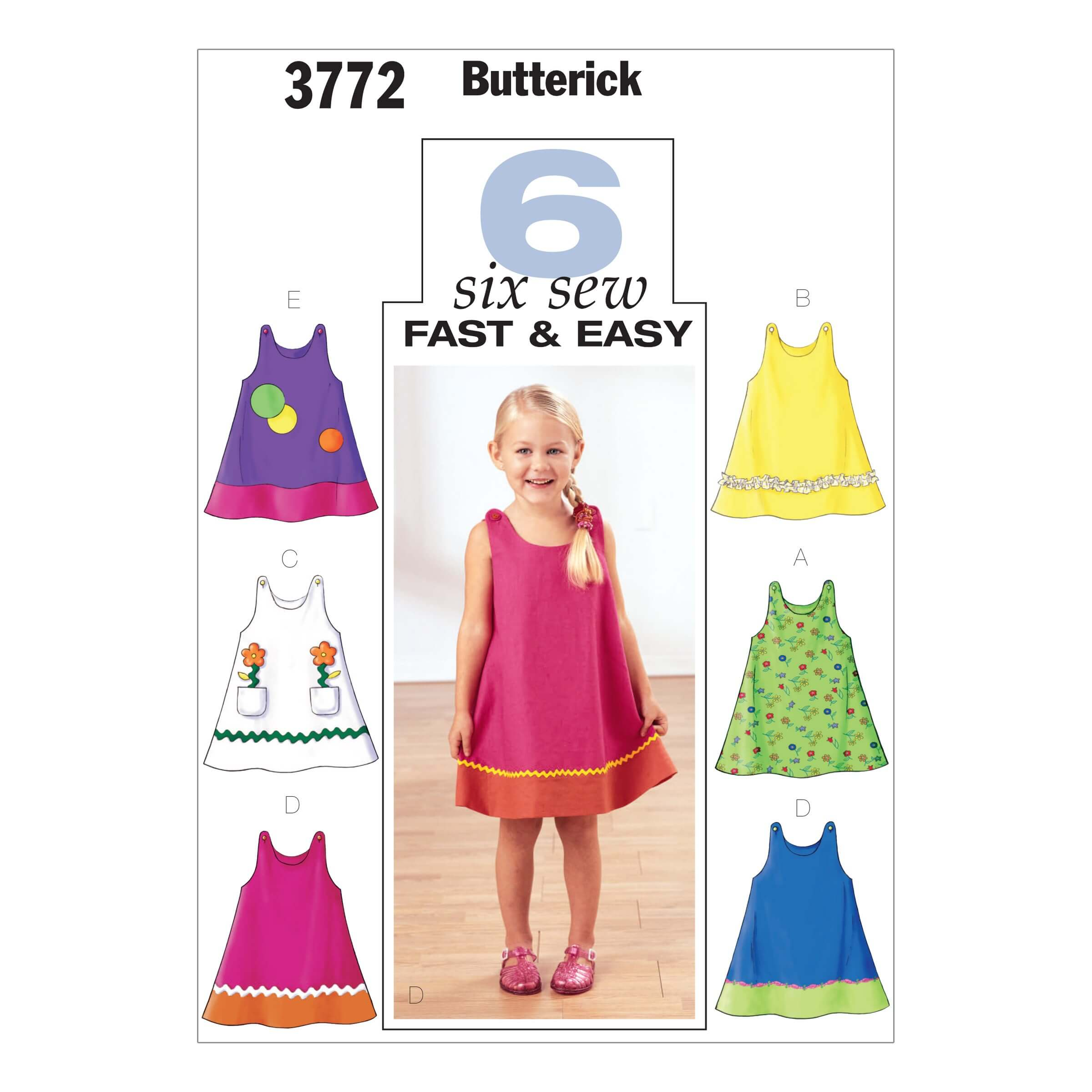 Butterick Sewing Pattern 3772 Childrens A Line Pinafore Dress