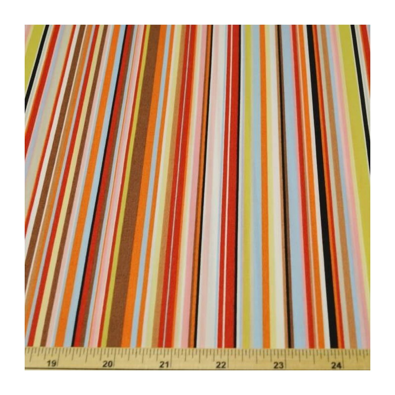 Col.1 Brown & Pink 100% Cotton Poplin Fabric Rose & Hubble Rainbow Stripes