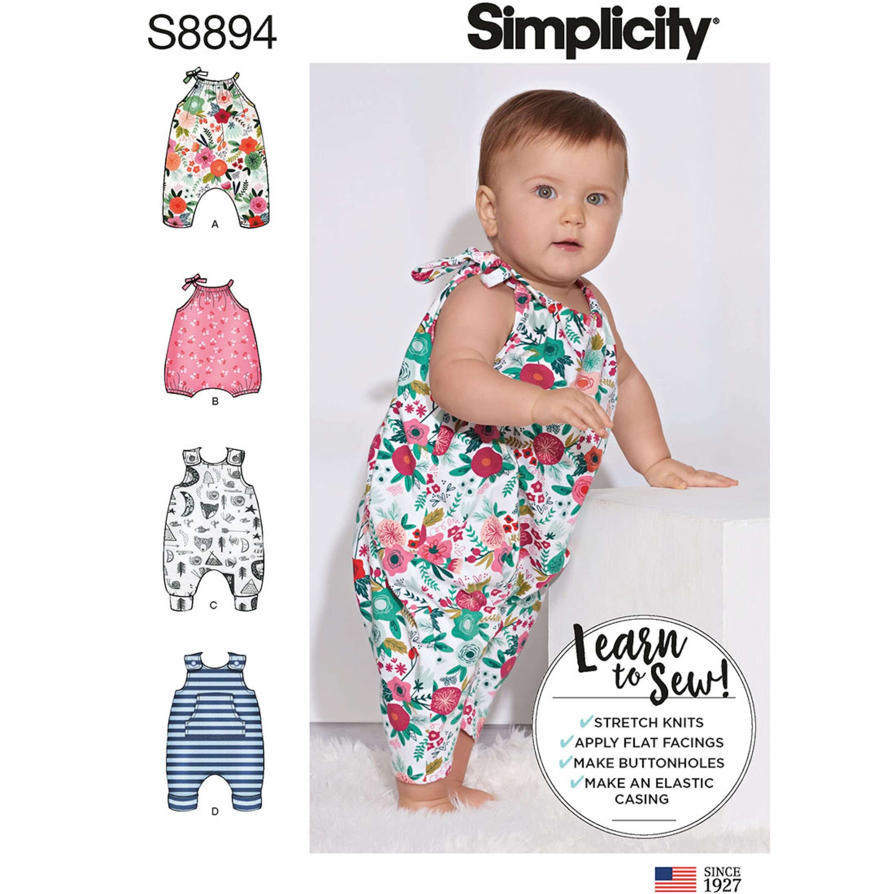 Simplicity Sewing Pattern 8894 Babies Baby Stretch Knit Rompers
