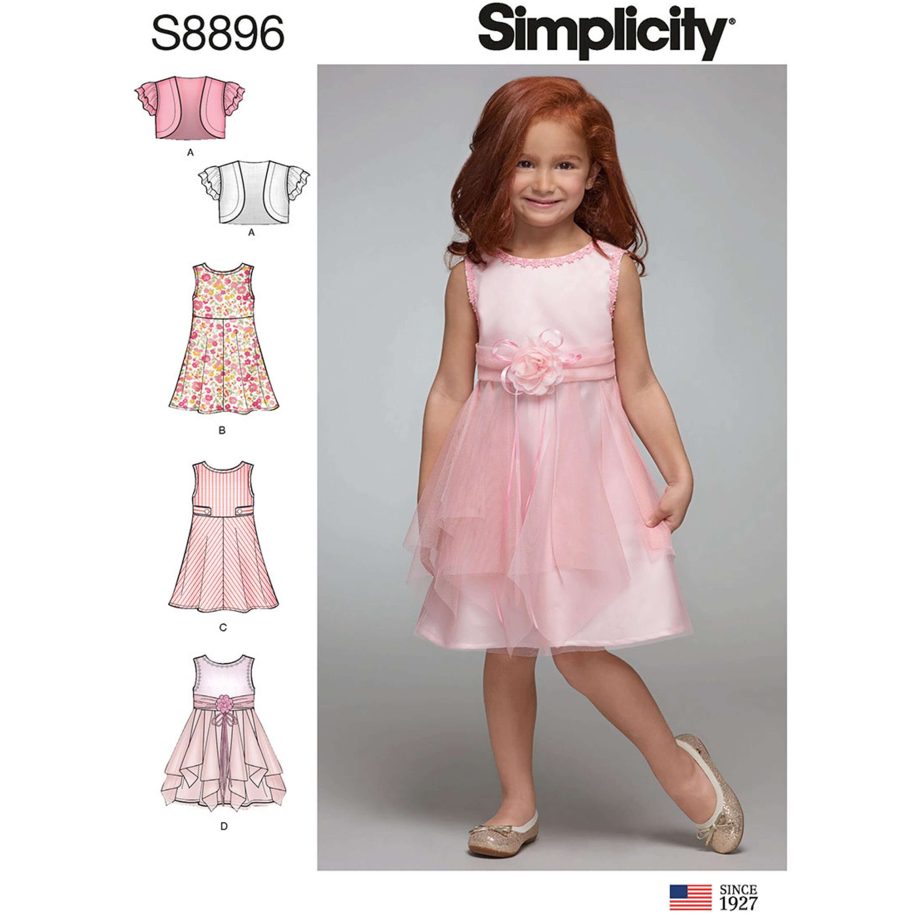 Simplicity Sewing Pattern 8896 Toddlers Girls Empire Waist Dresses