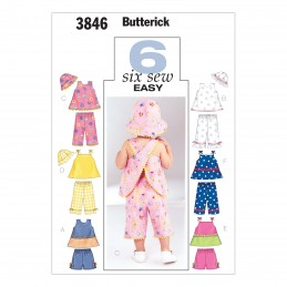 Butterick Sewing Pattern 3846 Toddlers Crossed Straps Top Trousers & Hat