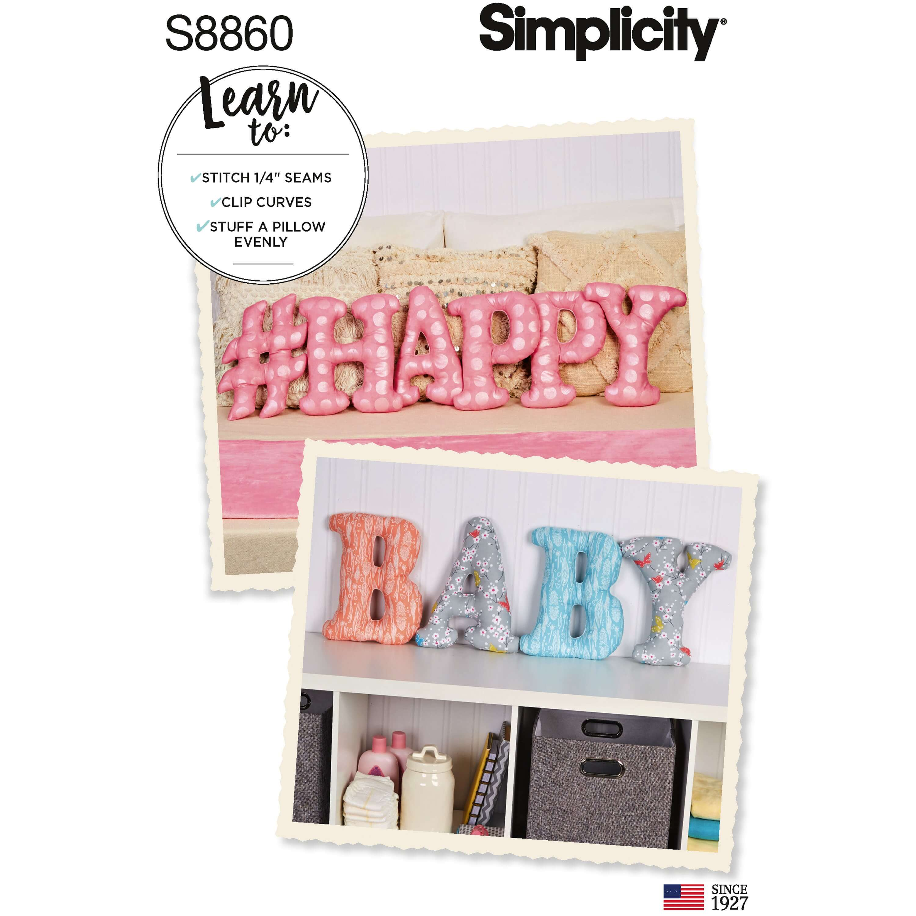 Simplicity Sewing Pattern 8860 Letter Number and Symbol Pillows