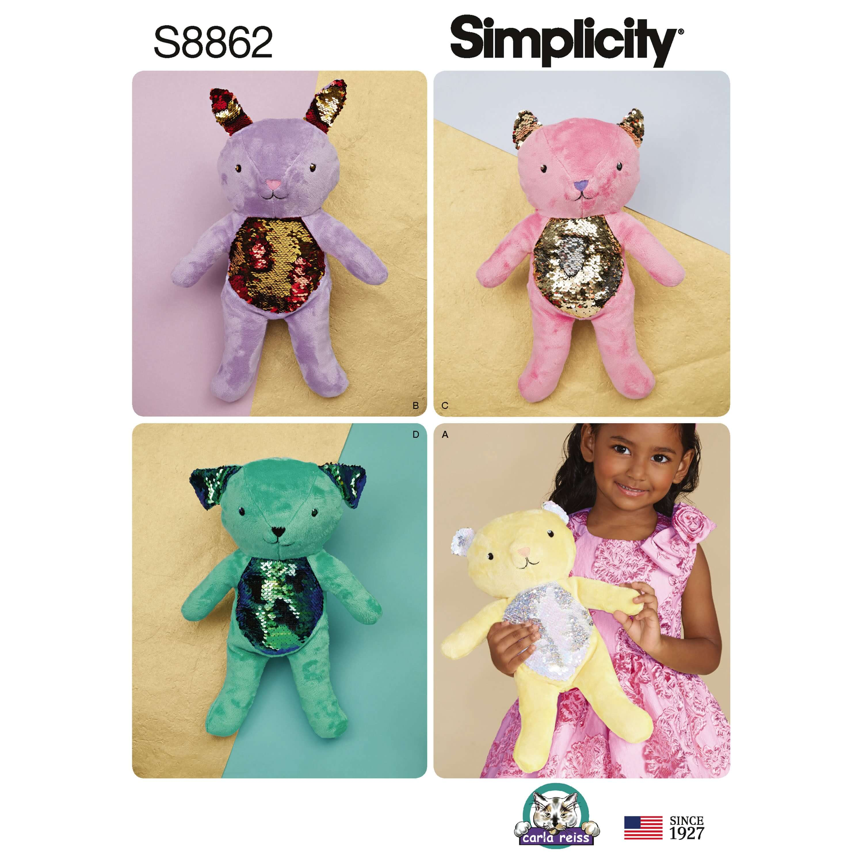 Simplicity Sewing Pattern 8862 Stuffed Animals with Sequin Bellies