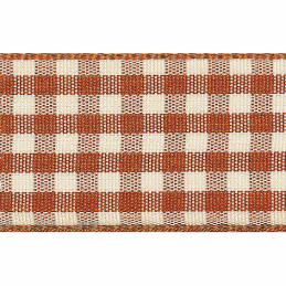 Copper 10mm x 4m Berisfords Natural Gingham Polyester Craft Ribbon